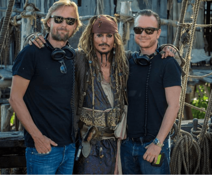 Joachim Rønning & Espen Sandberg with johnny depp pirates of the caribbean dead men images
