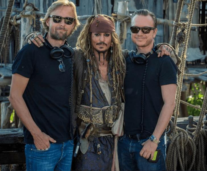 Joachim Rønning & Espen Sandberg with johnny depp pirates of the caribbean dead men images